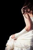 Bruid van rug tegen houten backgrounbride van backd Stock Foto