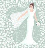 Bruid in witte huwelijkstoga Stock Foto