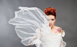 Bruid in witte kleding met sluier Royalty-vrije Stock Foto