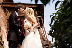 Bruidegom, bruid, kus Stock Foto
