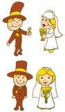 Bruidegom die diamantring geeft aan Bruid royalty-vrije illustratie