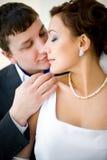Bruidegom en bruid Stock Foto