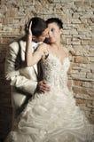 Bruidegom en bruid dichtbij de bakstenen muur Stock Afbeeldingen