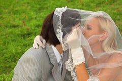 Bruidegom en bruid die onder sluier en kus wordt verborgen Stock Foto's