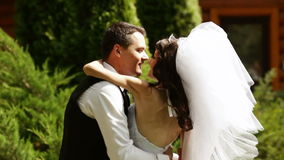 Bruidegom en bruid die op de handen houden stock video