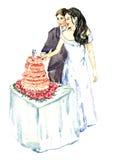 Bruidegom en bruid die roze huwelijkscake snijden Stock Afbeeldingen