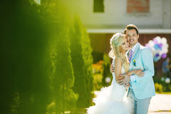 Bruidegom en bruid en gras Royalty-vrije Stock Fotografie