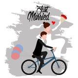 Bruidegom en bruid op een fiets Enkel echtpaar royalty-vrije illustratie