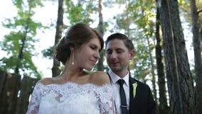 Bruidegom en bruidbroodje op kabel stock footage