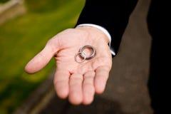 Bruidegom en trouwringen Royalty-vrije Stock Afbeeldingen
