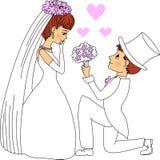 Bruidegom Giving Flowers aan Bruid royalty-vrije illustratie