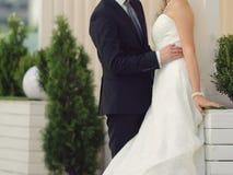 Bruidegom Hugging Bride Royalty-vrije Stock Foto's