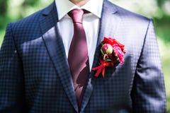 Bruidegom in kostuum met boutonniere, daglicht royalty-vrije stock afbeelding