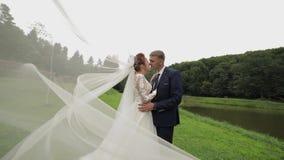 Bruidegom met bruid in bruidssluier dichtbij meer in het park Het Paar van het huwelijk stock video