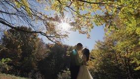 Bruidegom met bruid in het bospark Het Paar van het huwelijk Gelukkige Familie stock video