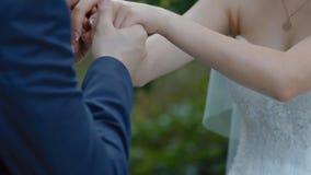 Bruidegomkus de handen van zijn bruid stock videobeelden