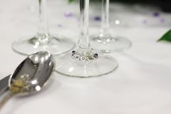 Bruidegomplaats die bij Huwelijk plaatsen stock foto