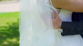 Bruidegomshanden op Taille van Bruid stock videobeelden