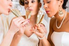 Bruiden die champagne in huwelijkswinkel drinken royalty-vrije stock afbeeldingen