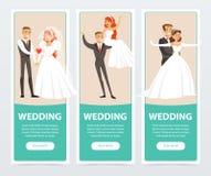 Bruiden en bruidegoms, gelukkige enkel echtparen, huwelijksbanners geplaatst vlakke vectorelementen voor website of mobiele app vector illustratie