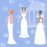 Bruiden in huwelijkskleding Stock Foto's