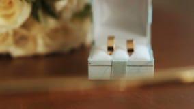 Bruids boeket Het boeket van de bruid Huwelijk Ik houd? van mooi jong donkerbruin meisje dat groot rood hart houdt, dat op witte  stock footage