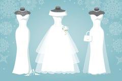 Bruids kleding drie De sneeuwvlokachtergrond van de winter Stock Afbeeldingen
