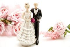 Bruids paar met roze rozen Royalty-vrije Stock Foto's