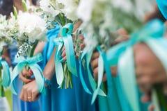 Bruids van huwelijksbloemen en bruiden boeket Royalty-vrije Stock Foto