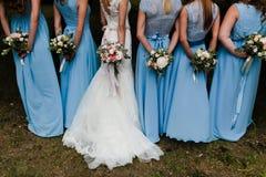 Bruidsmeisjes in blauw Royalty-vrije Stock Fotografie