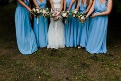 Bruidsmeisjes in blauw Royalty-vrije Stock Foto