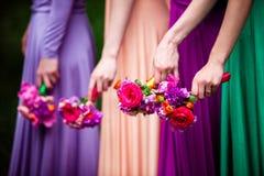 Bruidsmeisjes op huwelijk Stock Foto