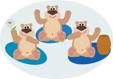 Bruin. Image of three sittings bears stock illustration
