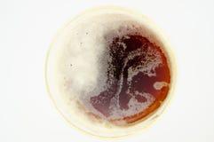 Bruin Bier Gouden Rim Glass From Above Royalty-vrije Stock Afbeelding
