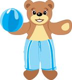 Bruin with blue ball Royalty Free Stock Image