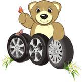 Bruin com as rodas dos carros. Composição abstrata Foto de Stock Royalty Free