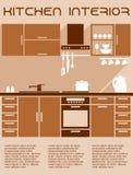 Bruin en beige keuken binnenlands ontwerp in vlakte Royalty-vrije Stock Foto's