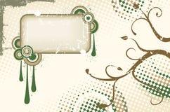 Bruin en groen vectorgrungeetiket Stock Fotografie
