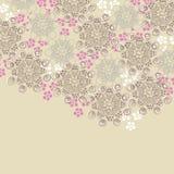 Bruin en roze bloemenontwerp Stock Foto's