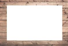 Bruin gekrast houten kader, aanplakbord of witte horizontale rechthoek met planken stock afbeeldingen