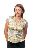 Bruin-haired vrouw in een lichte blouse stock afbeelding