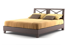 Bruin houten bed dat op wit wordt geïsoleerdu Royalty-vrije Stock Foto