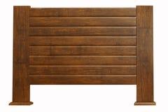 Bruin houten die hoofdeinde op wit wordt geïsoleerd Royalty-vrije Stock Fotografie