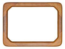 Bruin houten kader in moderne die stijl op wit wordt geïsoleerd Royalty-vrije Stock Fotografie