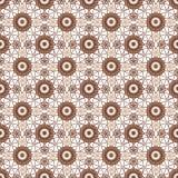 Bruin kant bloemen naadloos patroon op wit Stock Afbeelding