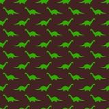 Bruin Kinderachtig Naadloos Patroon met Groene Brontosaurus royalty-vrije illustratie