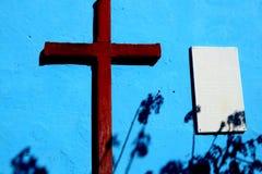 Bruin kruis op een blauwe achtergrond Trinidad, Cuba royalty-vrije stock foto's