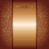 Bruin met de gouden koninklijke uitnodiging van het damastpatroon vector illustratie
