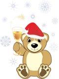 Bruin met glas champagne stock illustratie