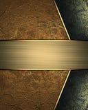 Bruin Metaal met zwarte decoratie met gouden naambord Element voor ontwerp Malplaatje voor ontwerp exemplaarruimte voor advertent Stock Foto